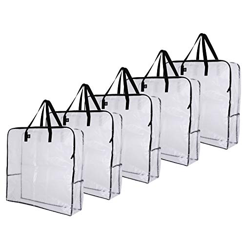 VENO Over-Sized Clear Storage Bag W/ Strong Handles and Zippers for College Carrying, Moving, Christmas Decorations, Wreath Storage, Under the Bed Storage, Garage Organizer, Made of Recycled Material (5-Pack)