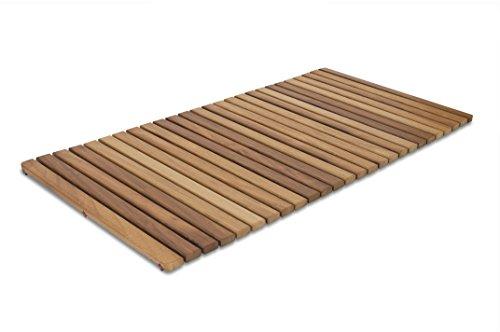 Tarima/Alfombrilla FLEXIBLE para ducha y baño, en madera de teca (50 x 100 cm)