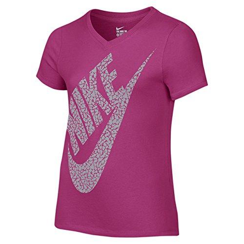 Nike CTN SS Vneck BM YTH–Vivid Rosa, VIVID PINK