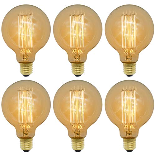 ZXNM Edison tungsteno bombilla Tungsteno Tornillo E27 Clásico Bombillas 220v 4w Fuente de luz cálida Arte Decoración de iluminación antigua 6 piezas/paquete Ámbar