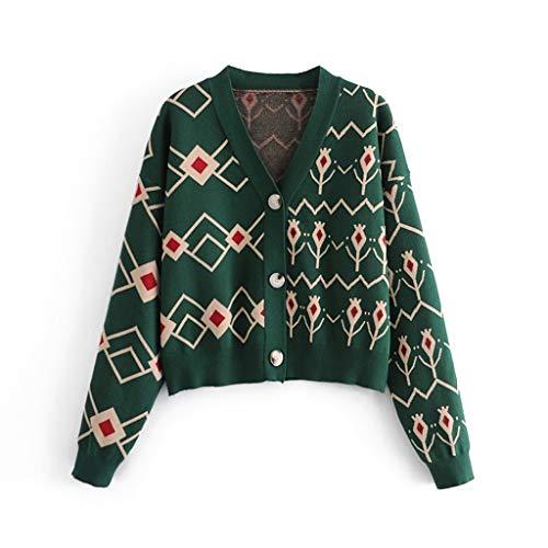 SJYDQ Moda Mujer Verde Jacquard Cardigan suéter con Cuello en V CHAQUETE Punto CHAQUETE Femenino CARDIGEN Stores (Size : Bust 120CM)