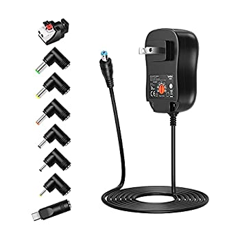 Belker 45W 5V 6V 7.5V 9V 12V 13.5V 15V Universal AC DC Power Supply Adapter for Household Electronics LED Light Strip - 1A 2A 3A 3000mA Amp - Fast USB Charging Port 5V 2A 2.4A