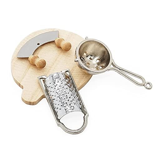 Odoria Dollhouse - Juego de rallador de quesos en miniatura para pizza, para decoración de cocina, escala 1/6