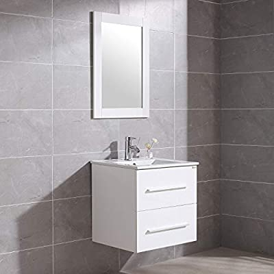 "WONLINE 24"" White Wall Mounted Bathroom Vanity Set Two Drawers Storage Cabinet with Ceramic Vessel Sink and Mirror Combo Chrome Faucet"