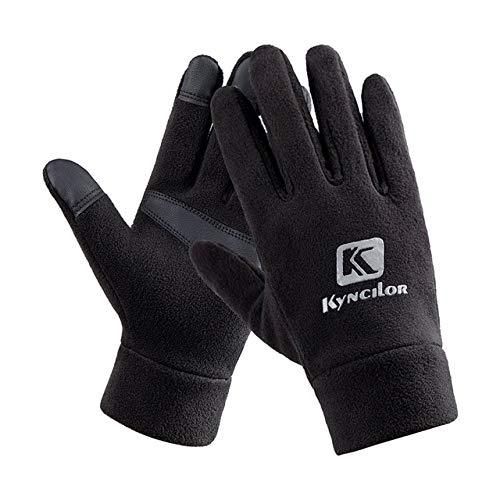 Unisexe Hommes et Femmes Mode Hiver Gants Chauds Polaire Coupe-Vent Slip Gants de Sport en Plein Air Gants D'équitation Écran Tactile - Noir, XL, A1