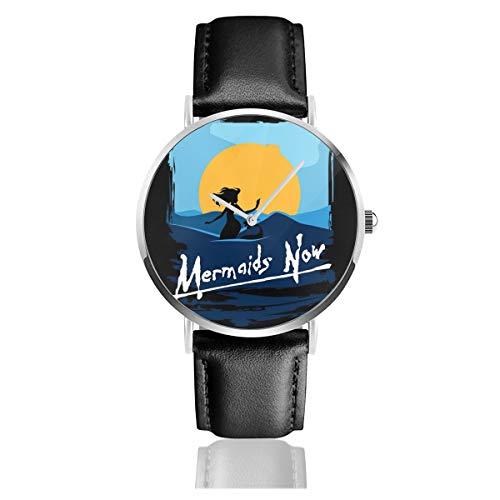 Unisex Business Casual Mermaids Now Apokalypse Now Uhren Quarz Leder Uhr mit schwarzem Lederband für Herren Damen Young Collection Geschenk