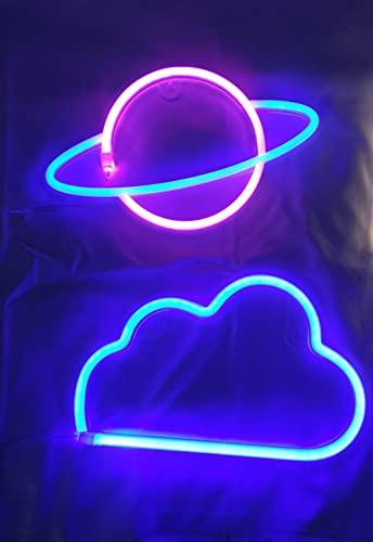 NELUX Pack de 2 Planeta y Nube - Luces de Neón LED para Pared de Dormitorio, Habitación de Niño, Niña, Decoración de Navidad, Fiesta de Cumpleaños. Conexión USB o Pilas (Rosa + Azul y Azul)