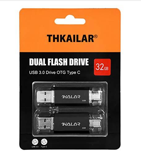 THKAILAR USB Stick OTG Speicherstick 2-in-1 Flash Drive USB 3.0 Memory Stick USB Type C Stick USB Pen Drive USB Flash Laufwerk für PC/Laptop/Notebook, und andere USB-Geräte (32GBx2, Black)