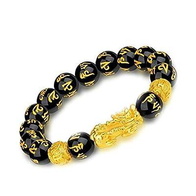Feng Shui Black Obsidian Wealth Bracelet,Feng Shui The Best 12mm Black Hand Carved Mantra Bead Bracelet,Bracelet With Golden Pixiu Pi Yao Attract Wealth Money Feng Shui Bracelet(1pcs)