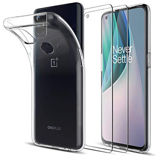LK Kompatibel mit Oneplus Nord N10 5G Hülle mit 2 Stück Bildschirmschutz Schutzfolie, Klar Schutzhülle Transparent TPU Silikon Handyhülle Durchsichtige Hülle Cover, Crystal Clear