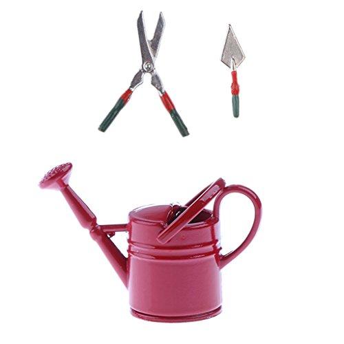 Fenteer Miniatur Gießkanne, Schere, Kelle Gartengeräte Set für 1:12 Puppenstube Garten Dekoration - Rot