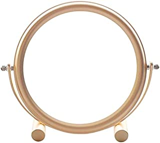 Makeup Mirrors 3X Magnifying Dual Sided Vanity Mirrors 360° Swivel Girls Beauty Mirror for Bathroom Bath Hotel Dormitory Tabletop Accessories OO (Color : Pink) (Color : Gold)