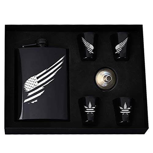 Bright Black Flask Sets for Men Pocket Liquor Whisky Hip Flask 9 oz with Funnel Wine Cup and Gift Box - Great Christmas, Birthday, Valentines Whisky Gifts for Men and Women