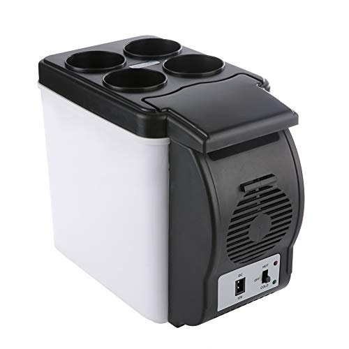 6L 12V Mini Portable Fridge, Compact Travel Electric Cooler and Warmer with Top Cover for Drinks Mini Refrigerator Car Personal Fridge for Bedroom, Office, Car, Home and Travel