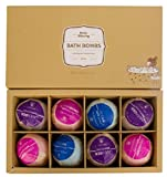 Bombe da Bagno Profumate cofanetto da 8 Bath Bombs Colorate ed Effervescenti 100% Naturali...
