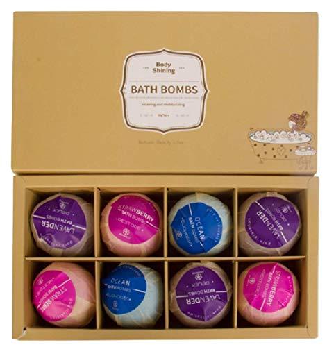 Bombe da Bagno Profumate cofanetto da 8 Bath Bombs Colorate ed Effervescenti 100% Naturali effetto SPA e Aromatherapy