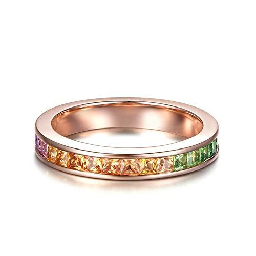 KnSam 18K Gold Rotgold Ring Goldringe Damen Echt Ehering Gold Elegant Ring Mit 1.87Ct Sapphire Rose Gold Bunt Echt Gold Ring