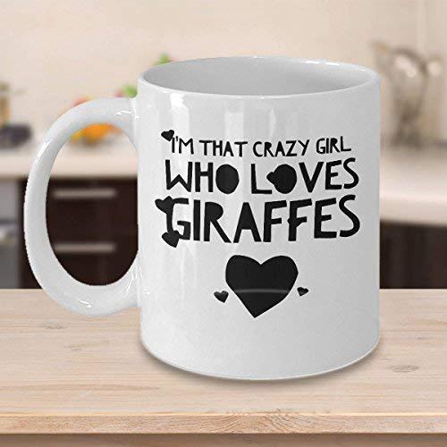 N\A Taza de café con Jirafa Taza de 11 onzas Idea de Regalo de Jirafa Regalos para Amantes de Las Jirafas Soy Esa Chica Loca Que ama a Las Jirafas