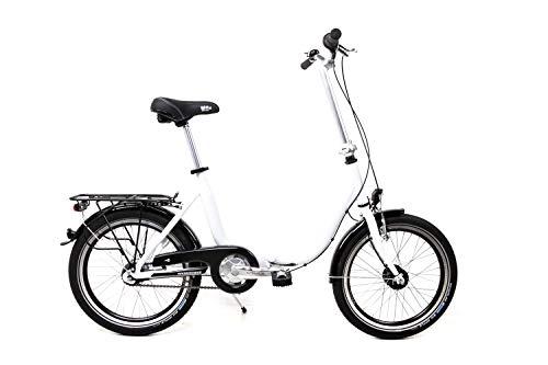 20 Zoll Alu Klapp Fahrrad Faltrad Folding Bike Shimano 7 Gang Nabendynamo White Weiss RH41cm