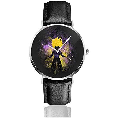Dragonabll Z Gohan Silhouette Relojes Reloj de Cuero de Cuarzo con Correa de Cuero Negra para Regalo de colección