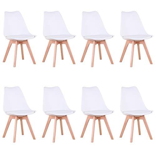 Uderkiny Conjunto de 4/6 sillas Sillas de Comedor con Cojines y Patas de Haya aptas para Comedor salón Cocina Oficina, etc (Blanco-8)