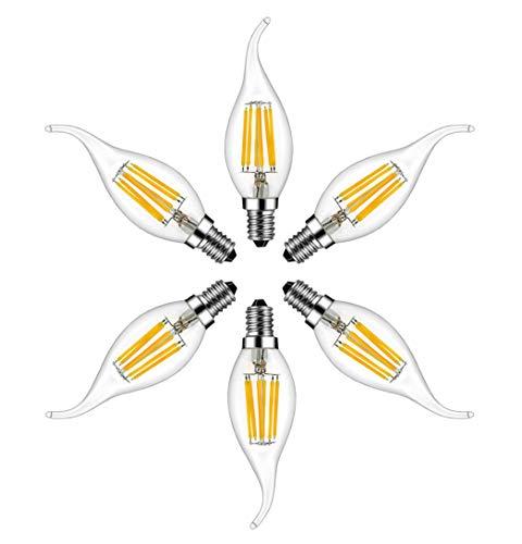 RANBOO E14 Kerze LED Lampe 6W ersetzt 60 Watt 600 Lumen Warmweiß 2700K C35 Leuchtmittel Filament Fadenlampe für Kronleuchter E14 Glühfaden Retrofit Classic Nicht Dimmbar 6er-Pack