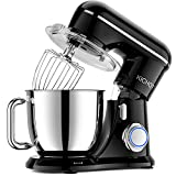 KICHOT Stand Mixer, 10-Speed Professional Kitchen Electric Food Mixer, 4.8QT Tilt Head Mixer with Dough Hook, Flat Beater, Wire Whisk and Splash Guard (Black)