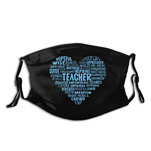 Kids Adult Anti-Dust Face Mouth Mask Teacher Heart Word Cloud Adjustable Sport Outdoor Mouth Cover Balaclava