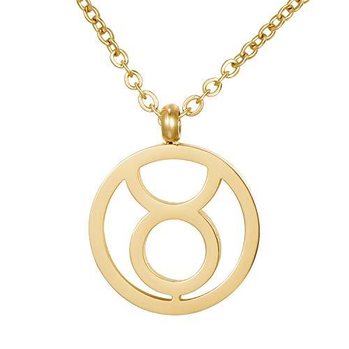 Morella Collar Acero Inoxidable Oro con Colgante Signo del Zodiaco Tauro en Bolsa de Terciopelo