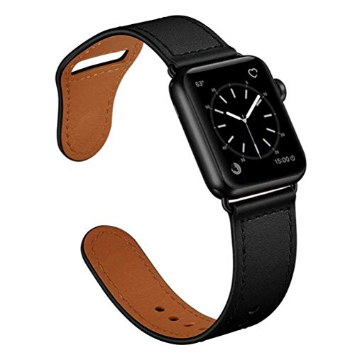 SENDORFF Aviator Leather Bracelet for Apple Watch (42 mm (Series 1-3) and 44 mm (Series 4-6/SE), Pure Black)
