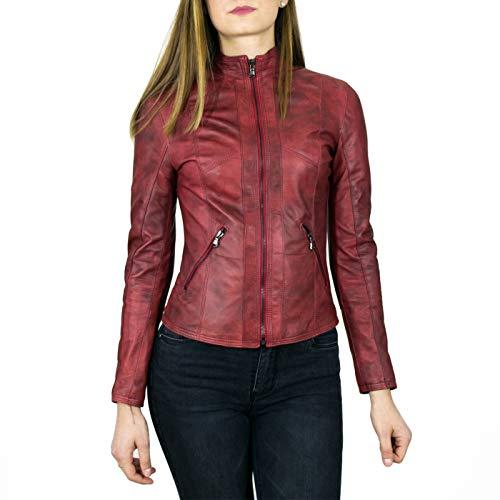 Leather Trend - Zara - Giacca Donna in Vera Pelle Colore Bordeaux Invecchiato (38)