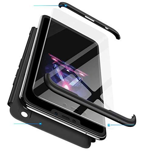 Qsdd Ersatz für Huawei Honor 9 Lite 360°Schutz 3 in 1 Hülle + 1 * Hartglas-Bildschirmschutz TPU Bumper Stoßfest Kratzfest Hart PC Siliconea Abdeckung-Schwarz