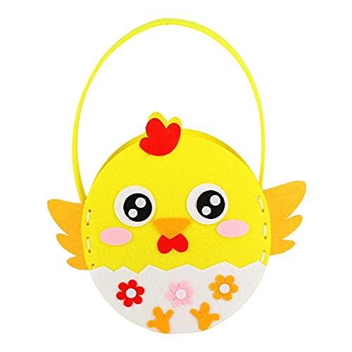 påskägg Påsktecknad Jaktväskor Påsk Tote med kyckling och kanin Form Party Supplies Candy Väska För Påskägg Spel Presentkort Förvaring påskägg bulk köp (Color : Yellow chicken)