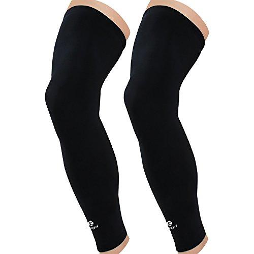 Kuangmi Leg Compression Sleeve Breathable UV Sun Protection Basketball,Running,Cycling,Pain Relief,Shin Splints (General Black (Pair), Medium)