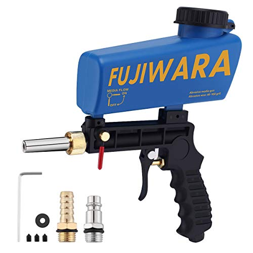 FUJIWARA Sand Blaster Gun Kit, Sandblaster with 2 Replaceable Tips Quick Connect, Works with All Blasting Abrasives–Professional Handheld Machine for Metal Rust Remove, Blue