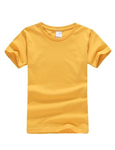 Bestgift jongens T-shirt korte mouwen katoen thee basic shirt tops gember geel XS (110cm)