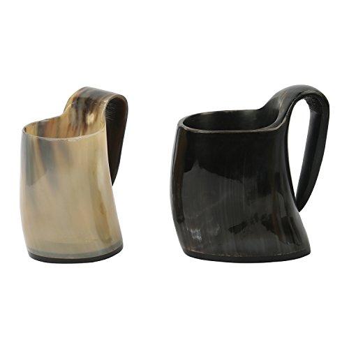 Handicrafts Home - Juego de 2 Vasos de Whisky con diseño de Cuerno Real