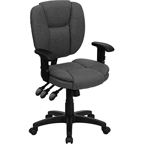 Flash Furniture Mid-Back Gray Fabric Multifunction Swivel Ergonomic Task Office Chair with Pillow Top Cushioning and Arms, BIFMA Certified