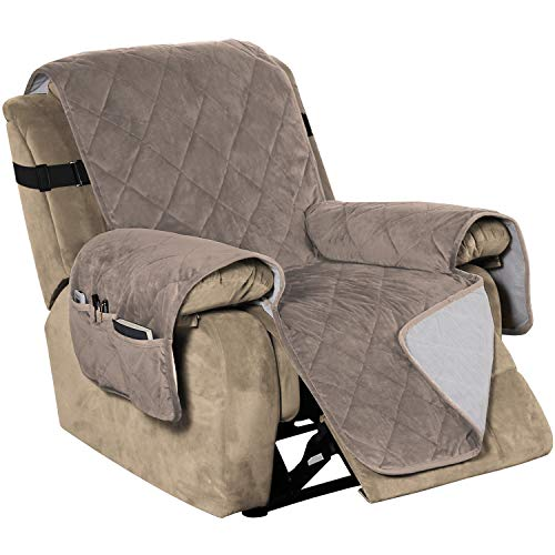 Recliner Covers Velvet Slip Resistant Recliner Sofa Slipcover Seat Width Up to 28  Couch Furniture Protector with 2  Elastic Straps Recliner Cover - Taupe