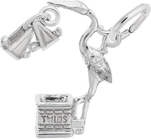 Rembrandt Twins Stork Charm - Metal - Sterling Silver