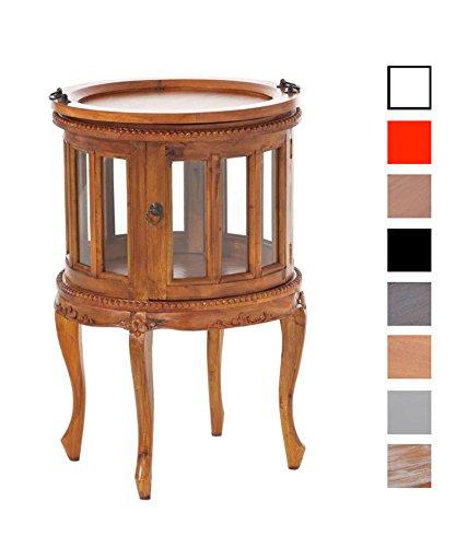 CLP Runder Teetisch aus Mahagoniholz mit verglasten Fronttüren I Runder Vitrinentisch im Kolonialsstil I erhältlich Rustic