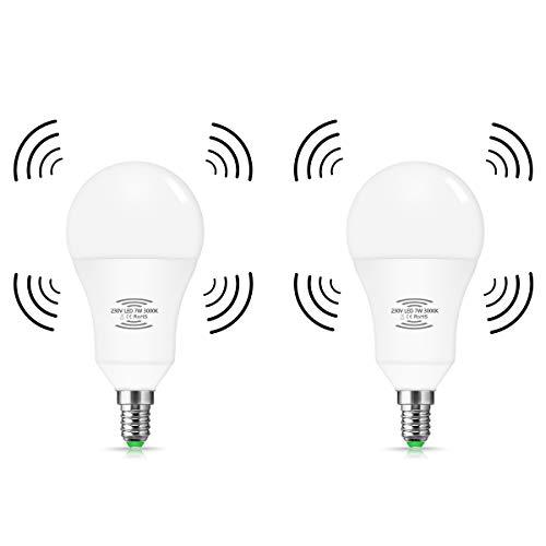 LED-Leuchtmittel mit Radar Bewegunssensor, Techgomade E14, 7W, Entspricht 60W Glühlampe, Warmweiß 3000k, Mit automatischer An-/Aus-Funktion, Für Treppen, Durchgang, Flur, 2 Stück