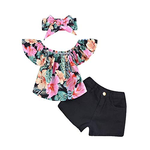 BABIFIS Meisjes Lente Zomer Set,3 Set Peuter Baby Mode Mooie Bloemen Prints Tops + Zwarte Shorts + Hoofdband Outfits Geschenken