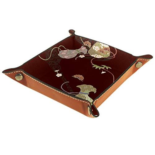 YATELI Caja de Almacenamiento pequeña, Bandeja de Valet para Hombre,Estilo de Arte japonés,Organizador de Cuero para Llaves de Caja de Monedas