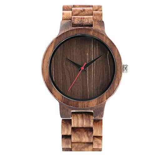 YJRIC Reloj de Madera Relojes de Cuarzo de Madera Natural Hechos a Mano Sencillos para Hombre, Esfera marrón/Negra, Correa de Reloj de Madera, Cierre de Pulsera, Reloj de Pulsera Informal, Regalo