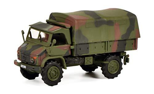 Schuco 452652700 Mercedes-Benz Unimog S404 Bundeswehr, mit Plane, Modellauto, Maßstab 1:87, Tarnfarbe