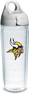Tervis 1068582 NFL Minnesota Vikings Emblem Individual Water Bottle with Gray Lid, 24 oz, Clear