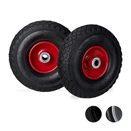 Relaxdays, schwarz-rot Sackkarrenrad 3.00-4, 2er Set, luftbereift, bis 100 kg, 260 x 85 mm, Ersatzrad mit Stahlfelge