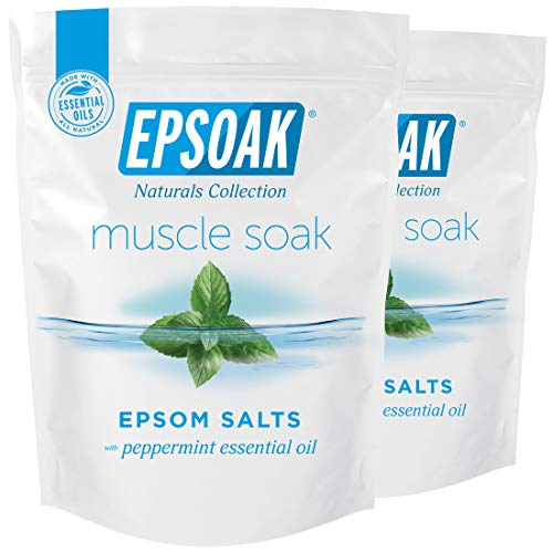 Epsoak Muscle Soak 4 lbs. - Speed Muscle Recovery, Soothe Aching Muscles, and Reduce Inflammation with Epsom Salt & Premium Eucalyptus & Peppermint Essential Oils (Qty 2 x 2 lb. Bags)