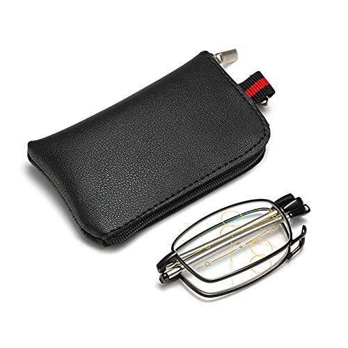 Gafas de lectura Gafas de bloqueo de luz azul Mujer Hombre Moda Lector plegable Gafas Gafas multifocales para presbicia con bolsa de almacenamiento (Negro)(+300)
